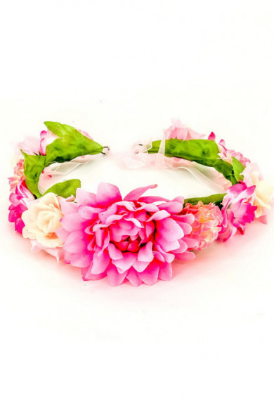 Head Piece -Wild Child Faux Flower Halo Crown in Pink