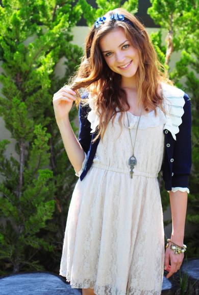 Dress - Windstruck Lace Embroidered Strap Dress in Beige