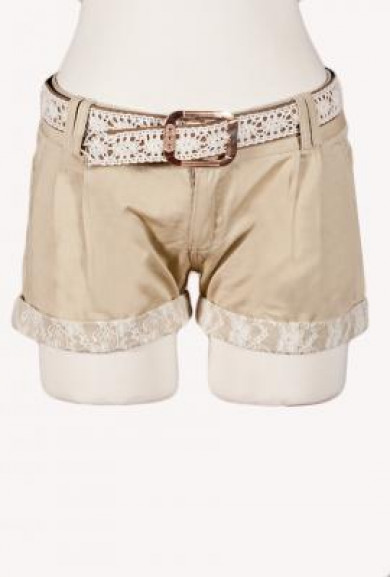 Shorts - Wishing Well Lace Trimmed Beige Shorts