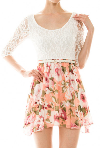 Dress - Wonderstruck Dreams 3/4 Sleeve Lace and Floral Print Dress in Peach