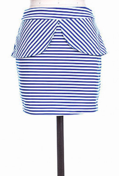 Skirt - Yacht Club Tulip Peplum Striped Mini Skirt in Navy Blue