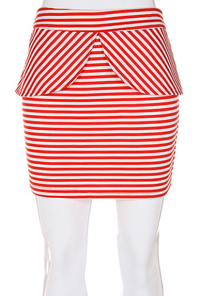 Skirt - Yacht Club Tulip Peplum Striped Mini Skirt in Red