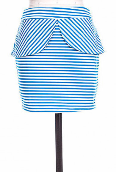Skirt - Yacht Club Tulip Slit Peplum Striped Mini Skirt in Sea Blue