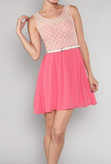 Dress - Young Love Belted Crochet & Chiffon Dress in Coral