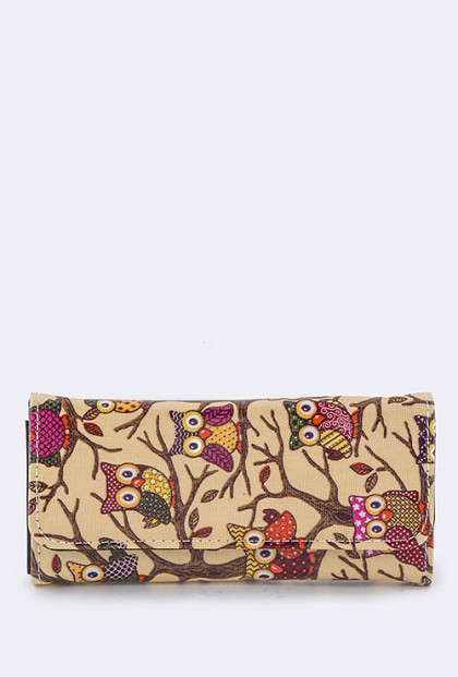 Wallet - Bird of Wisdom Owl Print Beige Wallet