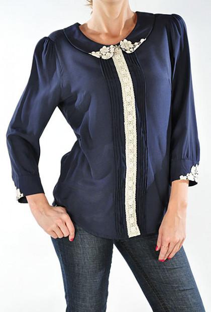 Blouse - Artisan Temperament Peter Pan Collar Pin-tuck and Lace Detailed Blouse