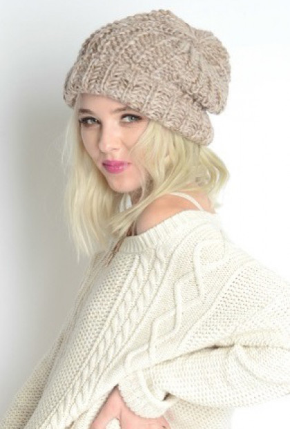 Beanie -Warm Bodies Chunky Heathered Knit Beanie in Beige