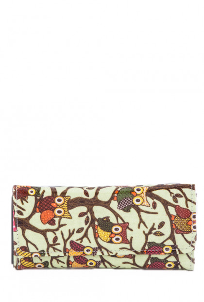Wallet - Bird of Wisdom Owl Print Mint Wallet