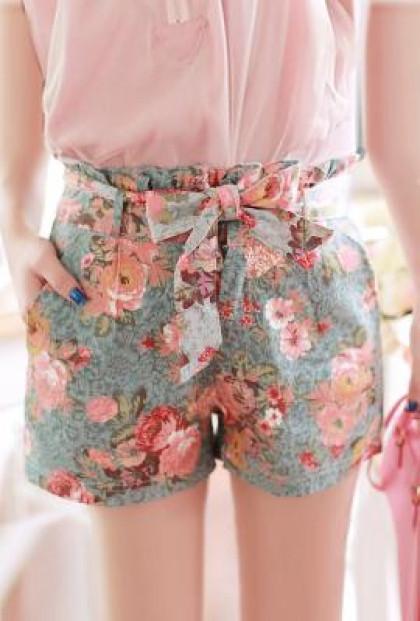 Shorts - Utopian Garden Paperbag Waist Floral Print Shorts