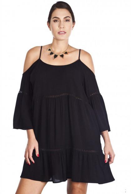 Dress - Bohemian Dream Off-the-Shoulder Peasant Dress in Black
