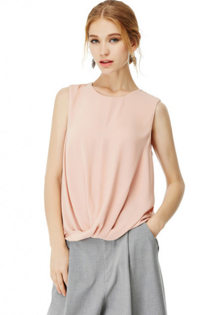 Tops -Contemporary Necessity Twisted Hem Sleeveless Top in Blush Pink