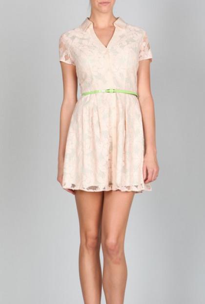 Dress - Atrium Garden Floral Lace Belted Turn Collar Dress in Blush by Ark & Co