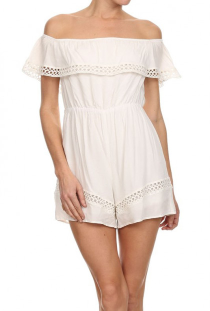 Romper - Easter Brunch Off Shoulder Romper in White