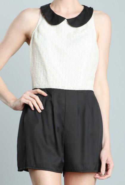 Romper - Eloquent Discourse Lace Peter Pan Collar Romper in Cream/Black