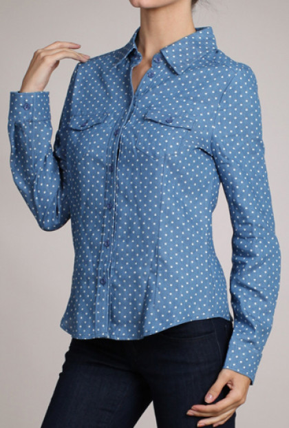 Tops - Favorite List Polka Dot Print Long Sleeve Chambray Shirt