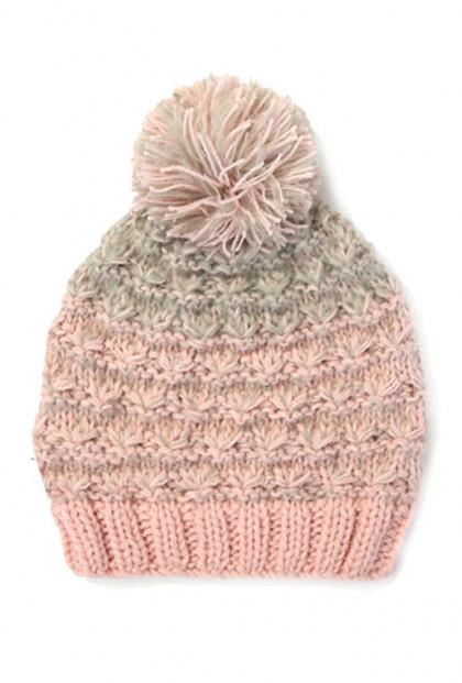Beanie - Girl Outdoors Knit Pink Pom Pom Beanie
