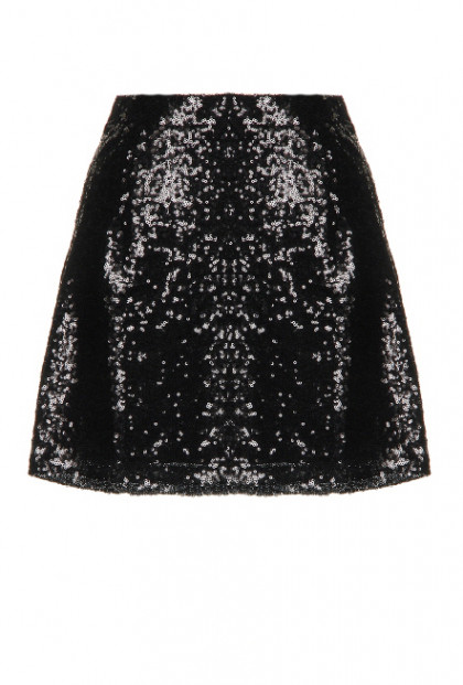 Skirt - Gleam & Glisten Sequin Flared Skater Skirt in Black