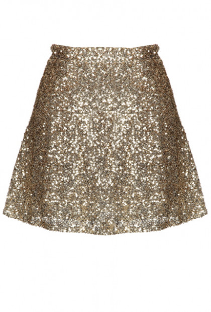 Skirt - Gleam & Glisten Sequin Flared Skater Skirt in Gold