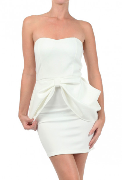 Dress - Head Over Heels Sweetheart Scuba Peplum Dress in White