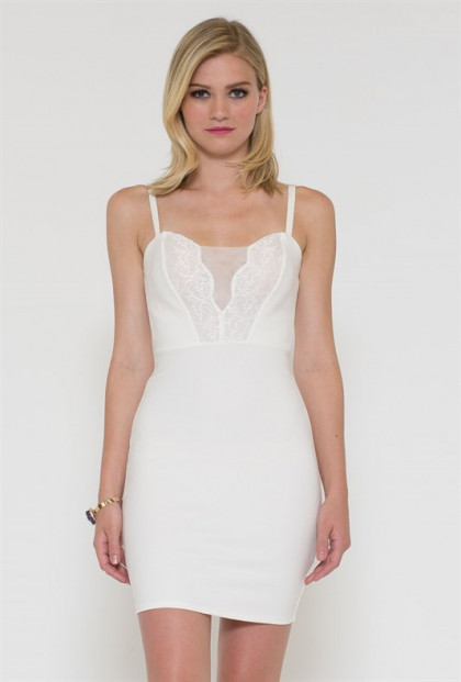 Dress - Hotel Bar Lace Sweetheart White Cocktail Dress