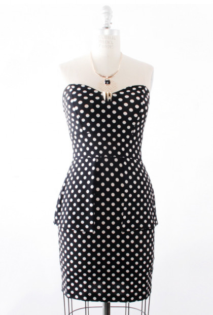 Dress - Hourglass Amusement Polka Dot Peplum Dress in Black/White