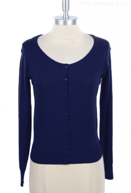 Cardigan - Humble Abode Long Sleeve Cardigan in Navy Blue