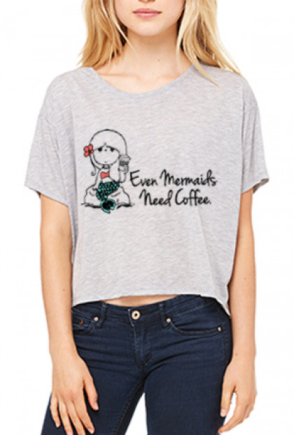 Graphic Tee - Mermaids Need Coffee Boxy Flowy Crop Graphic Tee in Heather Grey