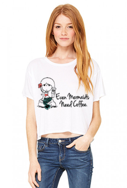 Graphic Tee - Mermaids Need Coffee Boxy Flowy Crop Graphic Tee in White