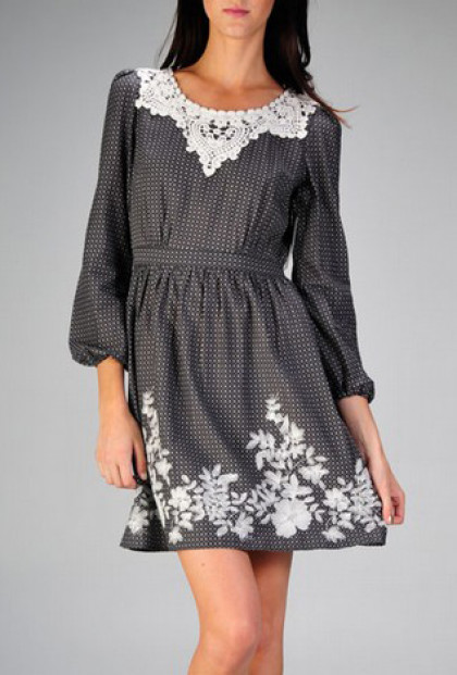 Dress - Modern Heritage Long Sleeve Lace Embroidered Tunic Dress in Charcoal