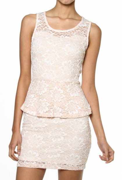 Dress - My Betrothed Floral Laced Peplum Dress in Peach Pink