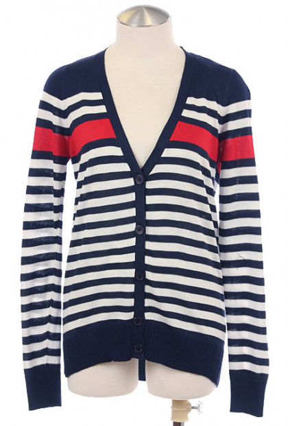 Cardigan - Nautical Prepster Long Sleeve Striped V-neck Cardigan in Navy