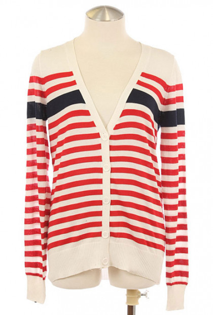 Cardigan - Nautical Prepster Long Sleeve Striped V-neck Cardigan in Red