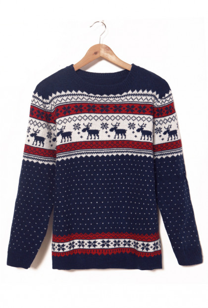 Sweater - North Star Navy Nordic Print Sweater