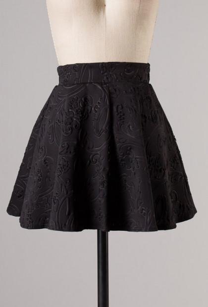 Skirt - Object of Affection Swirl Embossed Mini Skater Skirt in Black
