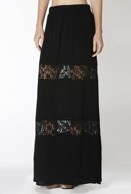 Skirt - Paradise Dreams Lace Paneled Gauze Maxi Skirt in Black