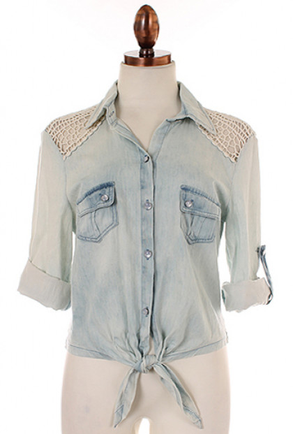 Shirt - Porch Swing Memories Crochet Lace Stone Washed Chambray Shirt