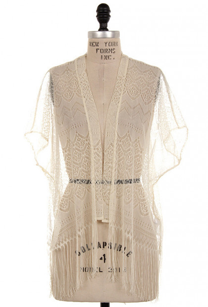 Cardigan - Prairie Dreams Lace Fringe Kimono Cardigan in Cream