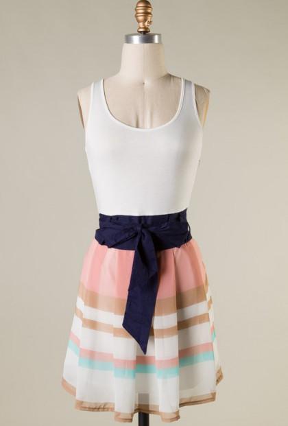 Dress - Resort Rendezvous Sleeveless Color Block Dress in Blush