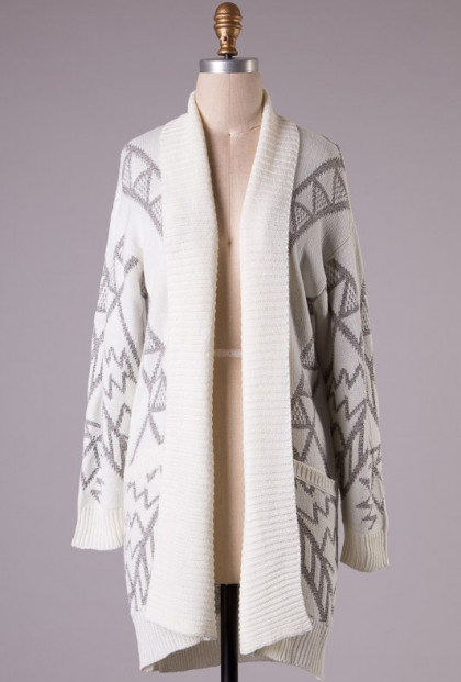 Cardigan - Sacred Motif Aztec Print Long Cardigan in Cream/Grey