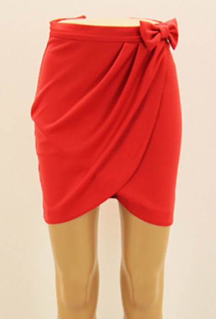 Skirt - Savvy Chic Bow Tulip Skirt in Red