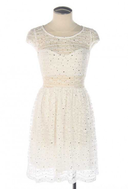 Dress - Snow Angel Cap Sleeve Sequin Lace Dress in White