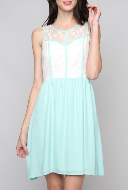 Dress - Snowflake Wishes Sleeveless Binding and Lace Dress in Mint Blue