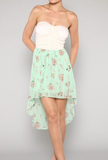 Dress - Soft Blooms Strapless Solid and Floral Print High Low Dress in Mint/White