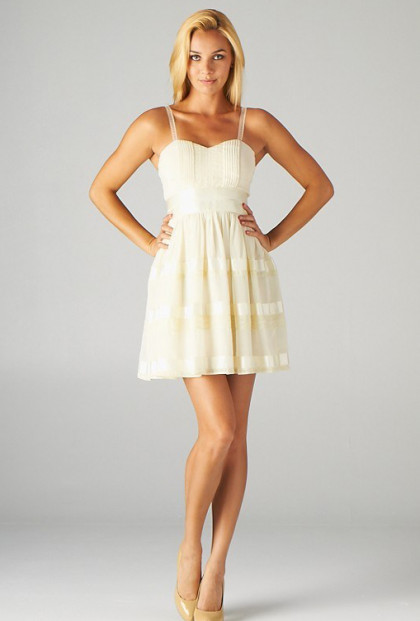 Dress - Spring Minuet Sweetheart Lace Strap Skater Dress with Ribbon Detail in Cream