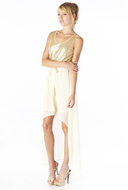 Dress - Stardust Goddess Sequin Accent High Low Dress in Gold/Cream
