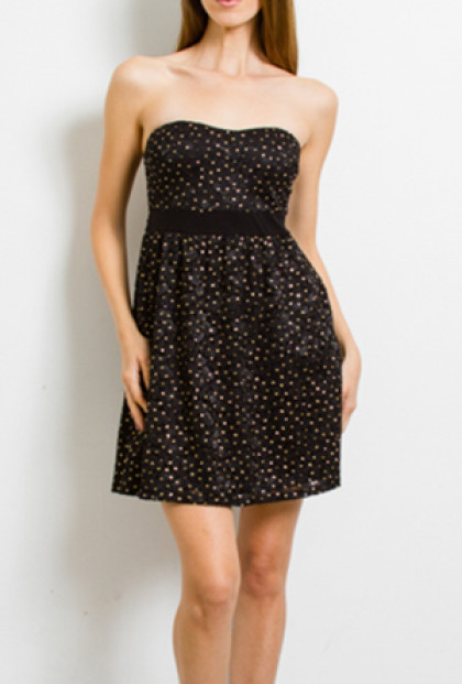 Dress - Starry Sky Sweetheart Sequin Strapless Dress in Black