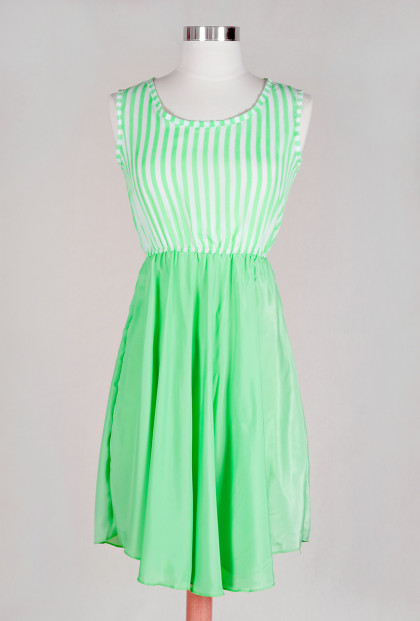 Dress - Summer Dalliance Stripes and Solid Contrast Dress in Limeade