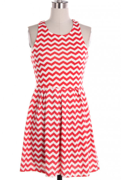 Dress - Summer Picnics Chevron Pattern Sleeveless Ponti Dress in Coral Red