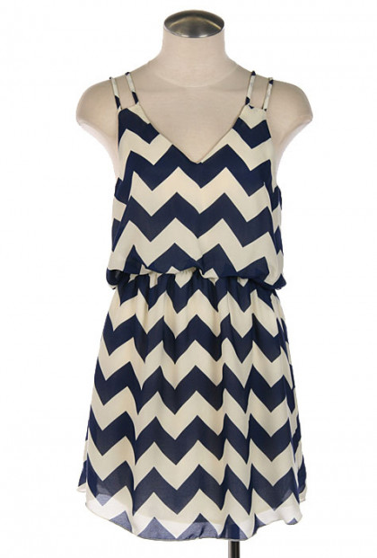 Dress - Summer Recreation Double Strap Chevron Print Dress in Navy Blue