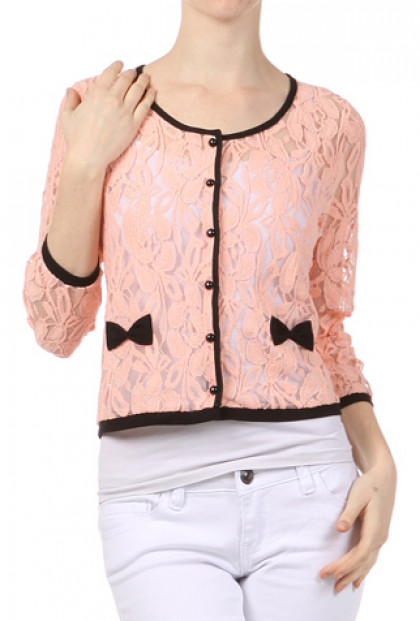Cardigan - Sweet Impressions Lace Embroidered Cardigan with Bows in Blush Pink